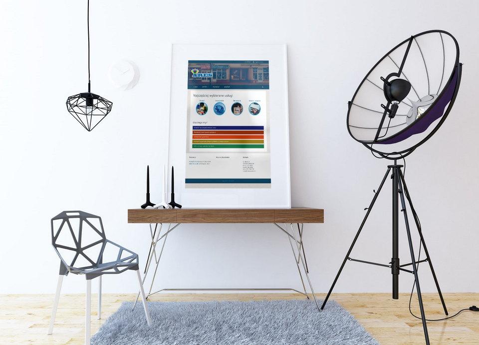Plakat z witryną WWW w pomieszczeniu studio
